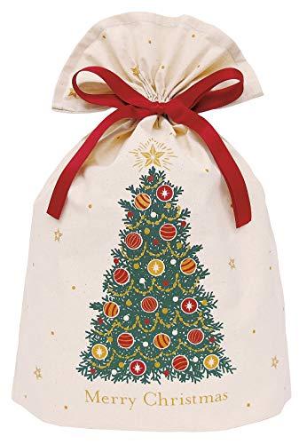 インディゴ クリスマス ラッピング袋 コットンバッグL クリスマスツリー グリーン XG609