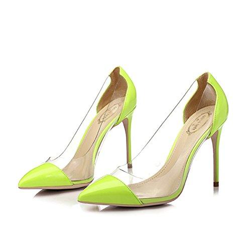 Womens PU Kitten Heel Pumps High Heels Sexy Pointy Toe Dress Transparente Empalme Zapatos De La Corte Superficial Para Party Dating Work Wedding Bridal,Green/8.5cm-EU36/UK4