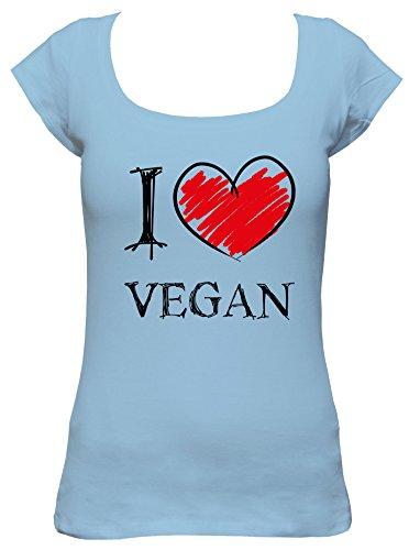 I Love Vegan Fun Damen Boat Neck T-Shirt_hellblau_M