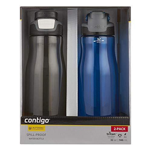 Contigo Autoseal Fit 32 oz. Spill Proof Water Bottle, 2 Pack (Smoke/Monaco)