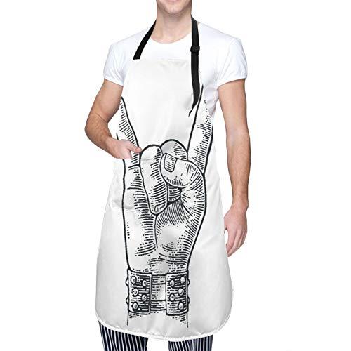 NOLOVVHA Ajustable Personalizado Delantal Impermeable,Pulsera con pinchos de metal con signo de mano de rock and roll que le da al diablo gesto de cuernos,Babero de Cocina Vestido con 2 Bolsillos