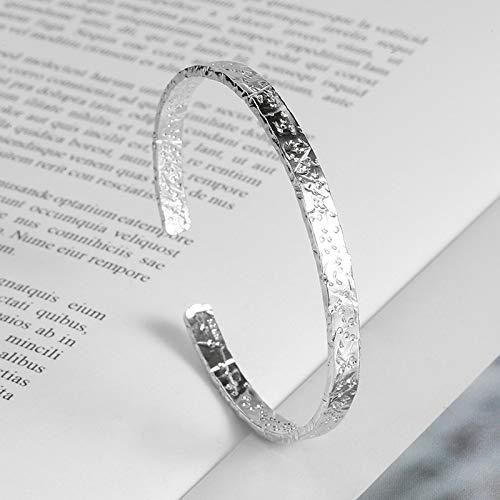 Pulseras de plata 925 para parejas, abalorios para mujeres, niñas, accesorios de fiesta, joyería ajustable y elegante (Color de metal: plata)
