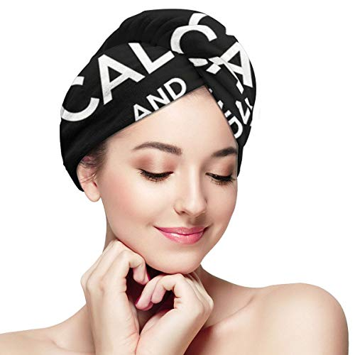 Keep Calm and Fuck Microfiber Hair Towel Wraps with Button for Women Quick Dry Anti-frizz Head Turban for Long Thick Curly Hair Super Absorbent Soft B