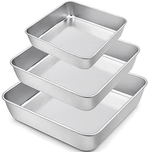 TeamFar Square Cake Pan, 6 / 8 / 9 Inch Stainless Steel Square Baking Pan for Cake Brownie Lasagna, Non-Toxic & Heavy Duty, One Piece Mold & Deep Wall, Smooth & Dishwasher Safe – Set of 3