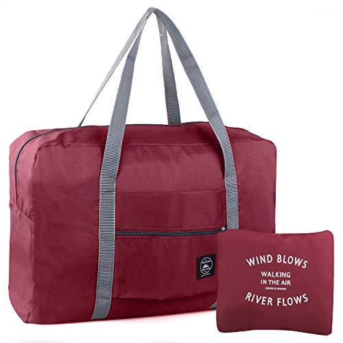 Foldable Duffles Bag for Women & Men, Waterproof Lightweight Travel Bag for Sport, Gym, Vacation(Style 1-Wine Red)