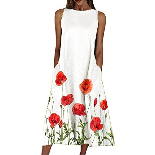 Zzbeans Vestido largo para mujer, diseño floral, elegante, vestido de verano, largo bohemio, con bolsillos, estilo retro, para mujer, festivo, elegante, Mujer, Rojo_A, medium