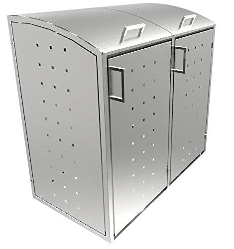 Resorti-Mülltonnenboxen Edelstahl 2 x 120/240 Liter hochwertige Müllbox Robustes Mülltonnenhaus (240 Liter (137x81x130cm))