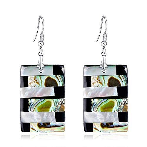 ZHENAO Pendientes para Mujer Fashion Creative Shell Series Pendientes Cuadrados Pendientes de Cola de Abalones de Moda Pendientes de Gota Adecuados para Compras, Fiestas Y Viajes De