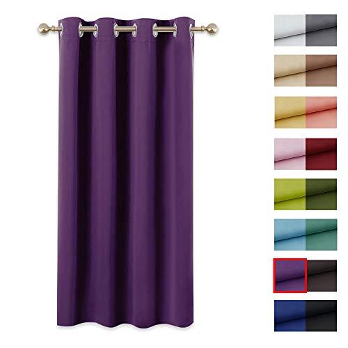 PONY DANCE Vorhang Blickdicht Gardine - (1er Set H 158 x B 132 cm) Vorhänge Schlafzimmer Gardinen Blickdicht Ösenvorhang, Violett