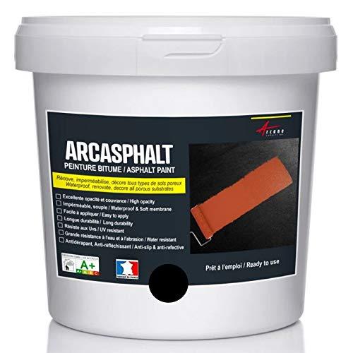 Peinture bitume goudron asphalte macadam résine sol extérieur béton enrobé rénov décoration ARCASPHALT - Noir - 25 Kg pour 50m2 en 2 couches - ARCANE INDUSTRIES