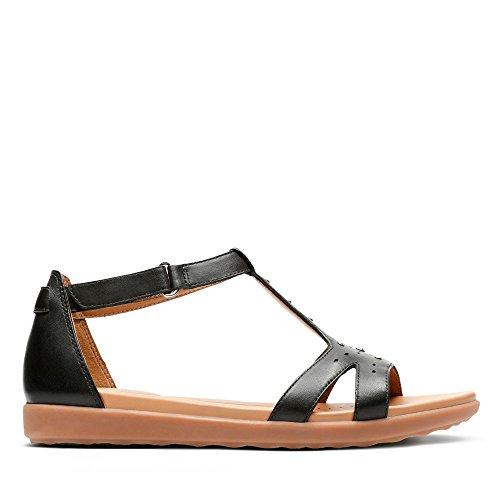 Clarks Damen Un Reisel Mara T-Spangen Sandalen, Schwarz (Black Leather), 42 EU
