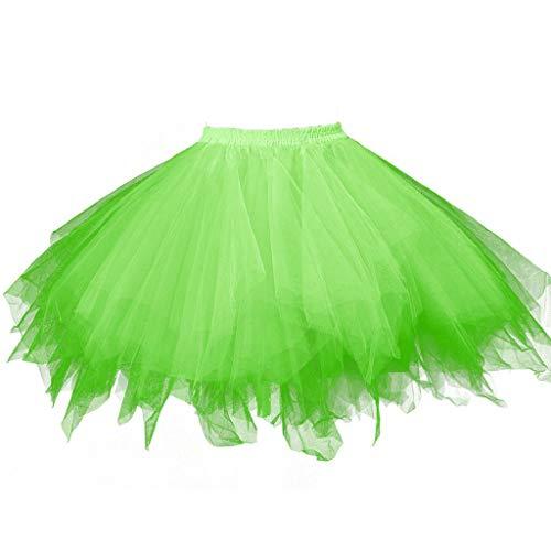 Deloito Damen Hohe Taille Faltenrock Farben Gaze Plissee Kurzer Tanzrock Erwachsene Tutu Tanzen Röcke Mädchen Gittergewebe Abschlussball Tanzender Minirock (J1,Freie Größe)