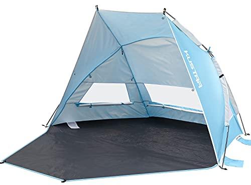 KUSTAR - Tienda de campaña para playa, con protección UV 50+, ultraligera, para 2-3 personas, plegable y portátil, ideal para camping, picnic, pesca, playa (azul)
