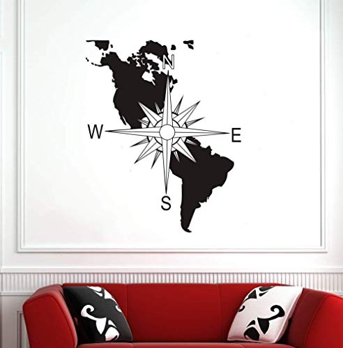 Abnehmbare Kompass Karte Vinyl Wandtattoo Wand Kunstwand Navigation Kompass Wandaufkleber Dekoration Wand Poster (60x70 cm Schwarz)