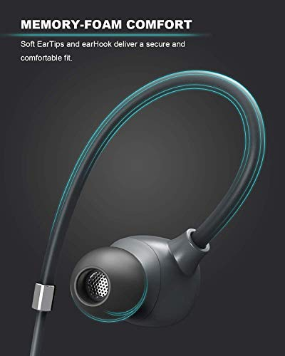 AUKEY Wireless Headphones, Key Series B80 Bluetooth 5 Earbuds with Hybrid Driver System, High Fidelity Sound, aptX Low Latency, IPX6 Water-Resistance, USB-C Charging, 8h Playtime and in-line Mic 6