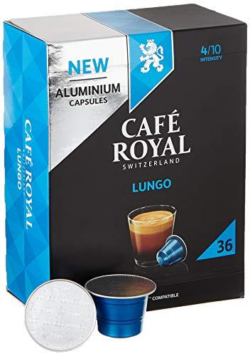 Café Royal 36 Lungo Nespresso (R)* kompatible Kapseln aus Aluminium - Intensität 4/10 - Großpackung 36 Kaffeekapseln - UTZ-zertifiziert - Kompatibel mit Nespresso (R)* Kaffeemaschinen