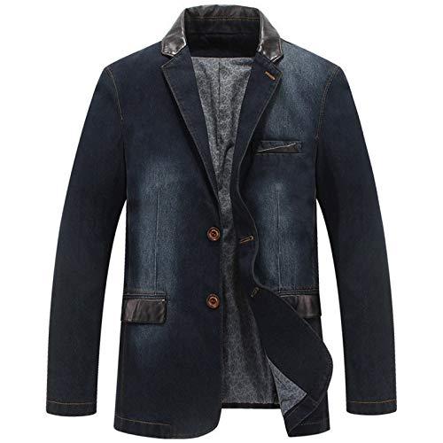Más El Tamaño De Los Hombres Chaquetas De Mezclilla Outwear Primavera Otoño Masculino Blazers Trajes Jeans Patchwork Cuero Slim Fit Abrigo