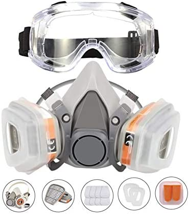 KISCHERS Reusable Half Facepiece and Anti Fog Safety Goggle Set Against Dust Organic Vapors product image