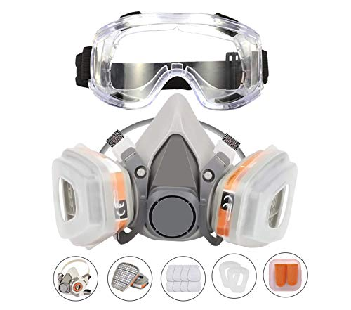 KISCHERS Reusable Half Facepiece and Anti-Fog Safety Goggle Set Against Dust/Organic Vapors/Smells/Fumes/Sawdust/Asbestos Suitable for...