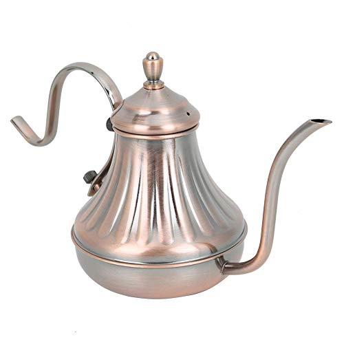 Waterpot, 450cc roestvrijstalen pot, smalle mondpot, retro vintage handkoffiewater theepot met antisliphandvat, duurzaam en niet gemakkelijk te roesten, ergonomisch ontwerp, praktische theepot voor