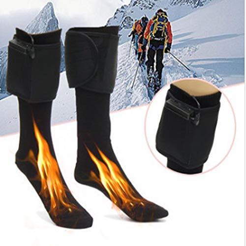QYWSJ Chaussettes Chauffantes en Coton 4.5V pour Hommes Femmes, Chaussettes Thermiques Chaudes Électriques Rechargeables Et Lavables,avec Chauffe-Pieds pour Boîtier de Batterie,Ski,Pêche