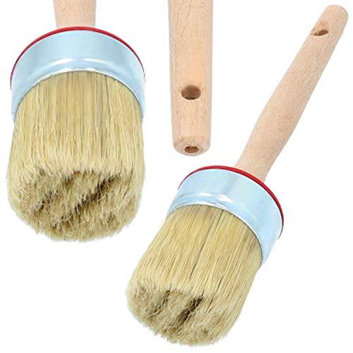PAINTO Runde Malerpinsel mit Holzgriff & Messingzwinge | Rundpinsel Pinsel für Lack Farben Beizen Lasurpinsel Lackierpinsel Holz Werkzeuge Borstenpinsel zum Streichen (20 mm)