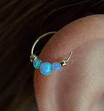 Light Blue Opal Helix Hoop Earring Piercing - 14k Gold Filled Cartilage Earrings ring,Opal piercing Hoop Cartilage Jewelry