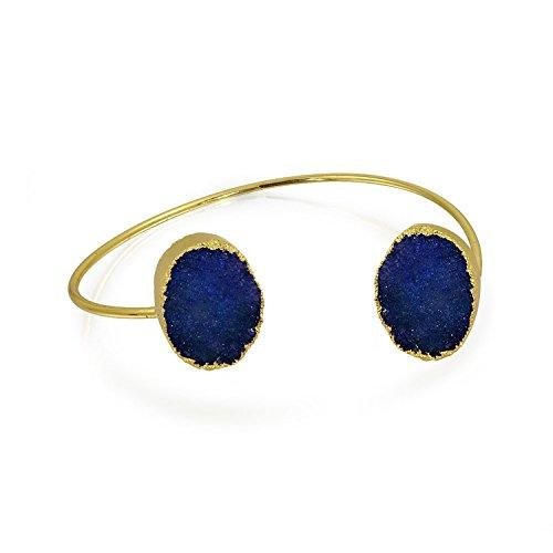 Bling Jewelry Boho Mode Edelstein Bio Marine Blau Druzy Armreif Dünne Manschette Armband Für Frauen Für Teen 14K Vergoldet Metall