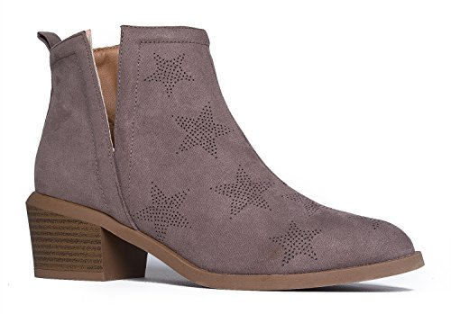ZooShoo Side Cut Out Closed Toe-Suede Mid Heel-Rocker-Chic Ankle Bootie 5.5