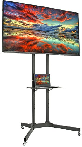 VIVO Mobile TV Cart for 32- 65 inch LCD LED Plasma Flat Panel Screen TVs up to 110 lbs, Pro Height Adjustable Rolling Black Stand with Laptop Shelf & Locking Wheels - Max VESA 600x400, STAND-TV03E