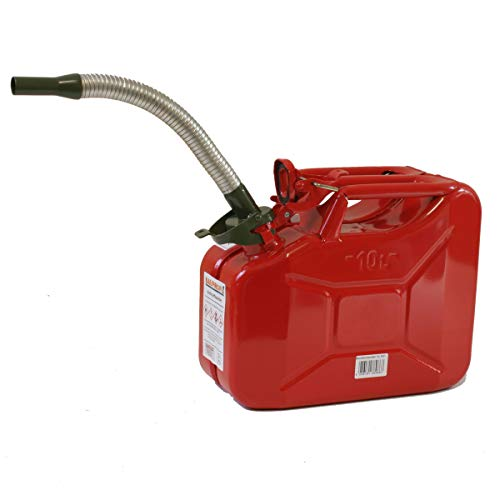 Stahlblechkanister rot 10 Liter + Benzinauslaufrohr flexibel Benzinkanister Kanister Set …
