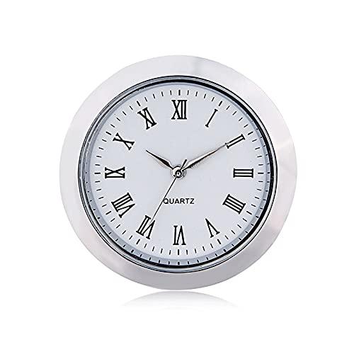 ZRNG Mini Reloj Movimiento de Cuarzo Insertar Ronda 1 7/16'(35mm) Facia Blanca Tono de Plata Bisel Números Romanos Reloj Cara (Color : Silver)