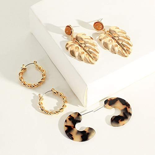 Juego de 3 pares de pendientes para mujer, diseño de hojas de metal, forma de C, color dorado