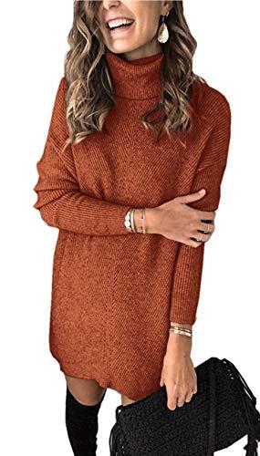 Damen Gestricktes Pulloverkleid Hoher Kragen Einfarbig A-Linie Freizeitkleidung Strickkleid (S, Ziegelrot)