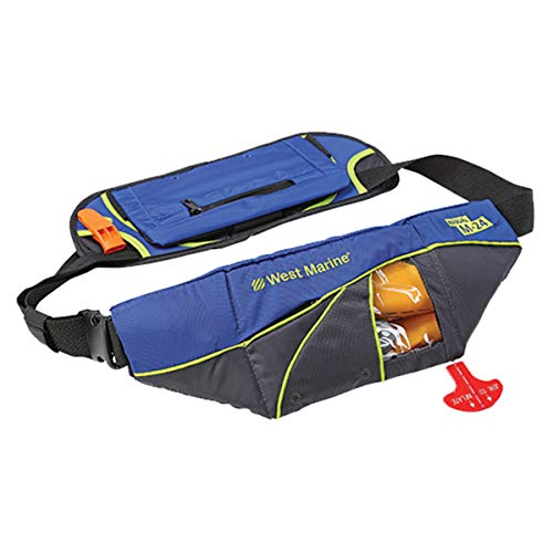 Mad Dog Products Onyx M-24 Manual Inflatable Deluxe Belt Pack with Hydration Pouch Made for West Marine - Grey/Blue