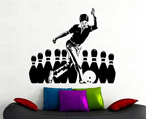 Wandaufkleber Wandbilder Abziehbilder Bowling Aufkleber Sport Wandtattoo Home Interior Wohnzimmer Dekoration Bowling Club Dekor Aufkleber 56cmx65cm