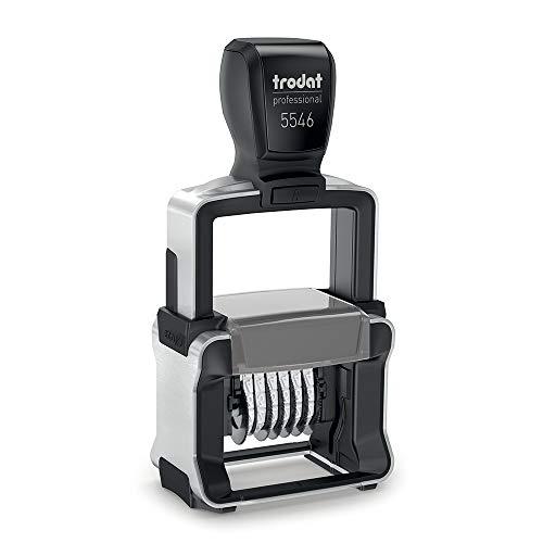 Trodat Professional 4.0 Numeratore 5546 Autoinchiostrante a 6 Cifre ad Avanzamento Manuale Altezza Carattere 4 mm, Nero