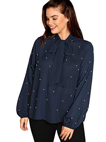Milumia - Blusa de oficina para mujer, talla grande, diseño de lunares, color dorado, Azul, 0X