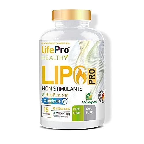 Life Pro Lipopro Suplemento Quemagrasas 90 Cápsulas | Pastillas Quemagrasas Efectivas con L-carnitina y N-acetil Cisteína, Lipotrópico Efectivo, Acelera el Metabolismo