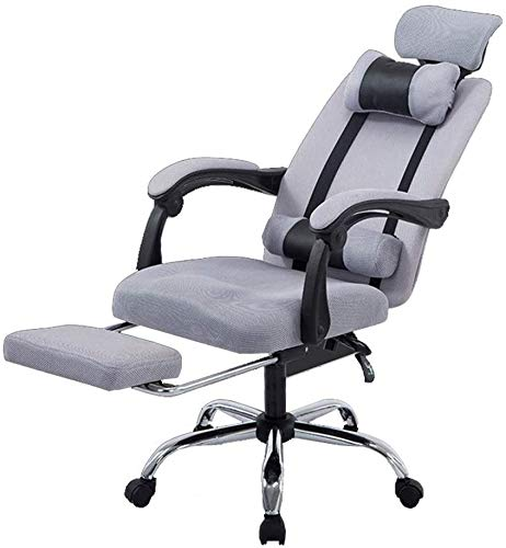 Reclining Computer Stuhl Home Computer Stuhl Ineinander greifen-Büro mit Rollstuhl Spiel Gaming Chair Boss Stuhl Stahl Fussdreh Aufzug Armlehne Boss Stuhl,Grau