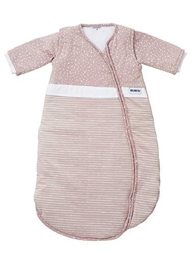 Gesslein 772212 Bubou - Saco de dormir para bebé con mangas desmontables para todo el año (90 cm, rayas y puntos rosa/blanco, 480 g)