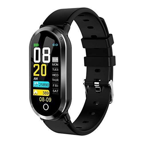 GXFNS Smart Armband Wasserdicht Schrittzähler Herzfrequenz Blut Fitness Tracker Bluetooth Armband Sport Smart Band Activity Tracker,Schwarz