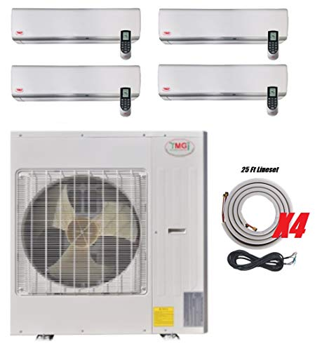 YMGI Four Zone 36000 BTU 3 Ton 21 SEER - 36000 BTU 9000 9000 9000 9000 Ductless Mini Split Air Conditioner with Heat Pump for Home, Office, Apartment with 25 Ft Installation Lineset