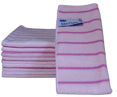 AQUA CLEAN Microfaser Reinigungstücher mit Kraftstreifen 10-tlg. (Pink)