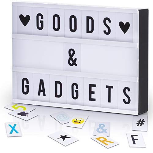 GOODS+GADGETS LED Lichtbox Blockbuster Leuchtbox Light Box Leuchtkasten + USB-Netzteil + 204 Buchstaben & Zeichen