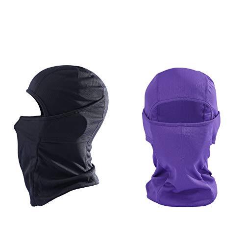 KOOYU Balaclava Ski Mask - Neck Gaiter Face Bandana & Anti Dust Face Scarf (Black+Purple)