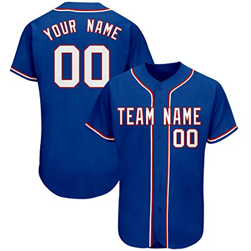 KXK Custom Baseball Jersey T-Shirts Plain Button Down Sports Tee for Men Women Youth,Stitched Letters and Numbers Blue