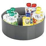 mDesign Base giratoria para Cocina y baño – Bandeja Redonda con 5 Compartimentos y Bordes Altos – Estantes giratorios para Accesorios para bebé en plástico sin BPA y Acero – Gris Antracita