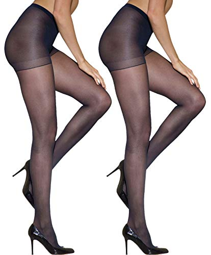 Silkies Women's Control Top Pantyhose with Light Support Legs (2 Pair Pack)-Large Navy