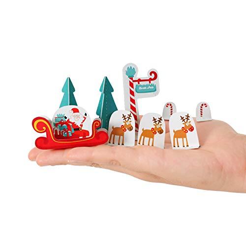 Postkarte 10 x 15 cm Weihnachtskarte Klappkarte Motiv Santa mit Schlitten & Renntieren Papier Spielzeug zum Basteln